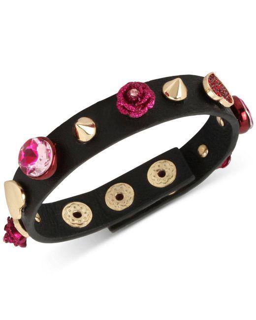 Betsey Johnson | Gold-tone Pink Stone Heart & Flower Black Leather Snap Bracelet | Lyst
