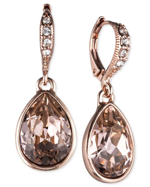 Givenchy | Pink Rose Gold-tone Crystal Drop Earrings | Lyst