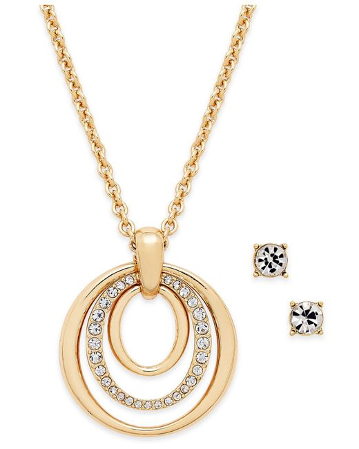 Charter Club - Metallic Pavé Pendant Necklace & Crystal Stud Earrings Set - Lyst