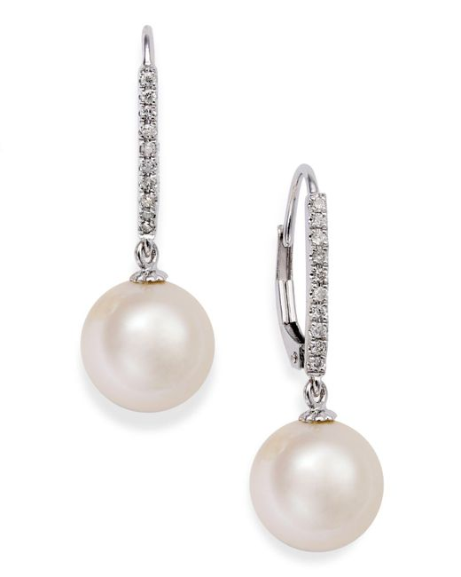 Macy's - Metallic 14k White Gold Earrings, Cultured Freshwater Pearl (10mm) And Diamond Accent Leverback Earrings - Lyst