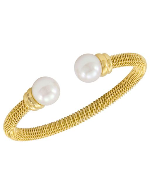 Majorica - Metallic Bracelet, Organic Man Made Pearl And Gold-tone Stainless Steel Bangle Bracelet - Lyst