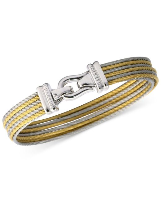Charriol - Metallic Women's Brilliant Two-tone Pvd Stainless Steel Cable Bangle Bracelet - Lyst