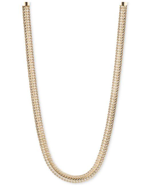 Anne Klein Metallic Textured Chain Necklace