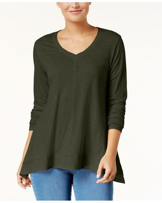 Style & Co. - Green V-neck Swing Top, Created For Macy's - Lyst