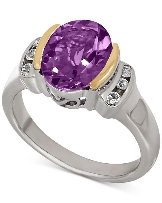 Macy's - Metallic Amethyst (2-3/8 Ct. T.w.) And White Topaz (1/10 Ct. T.w.) Two-tone Ring In Sterling Silver With 14k Gold Accents - Lyst