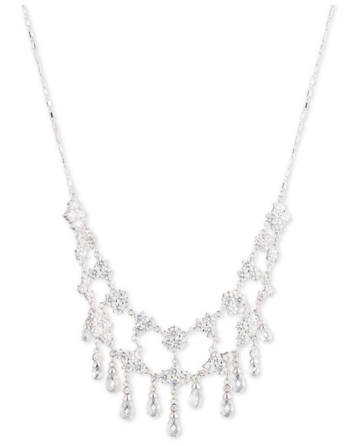 """Carolee - White Silver-tone Cubic Zirconia 16"""" Collar Necklace - Lyst"""