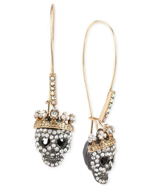 Betsey Johnson - Metallic Two-tone Pavé Skull Long Drop Earrings - Lyst