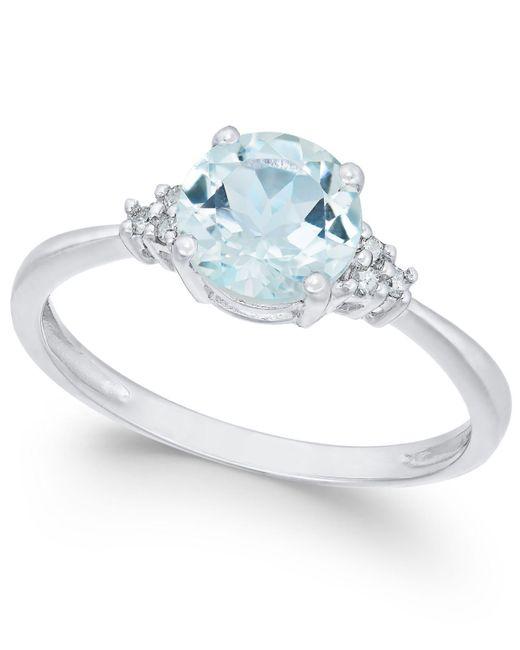 Macy's - Metallic 14k White Gold Aquamarine (1 Ct. T.w.) And Diamond Accent Ring - Lyst