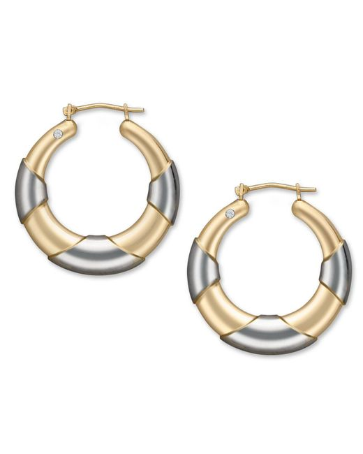 Signature Gold - Metallic Diamond Accent Graduated Hoop Earrings In 14k Gold And White Gold - Lyst