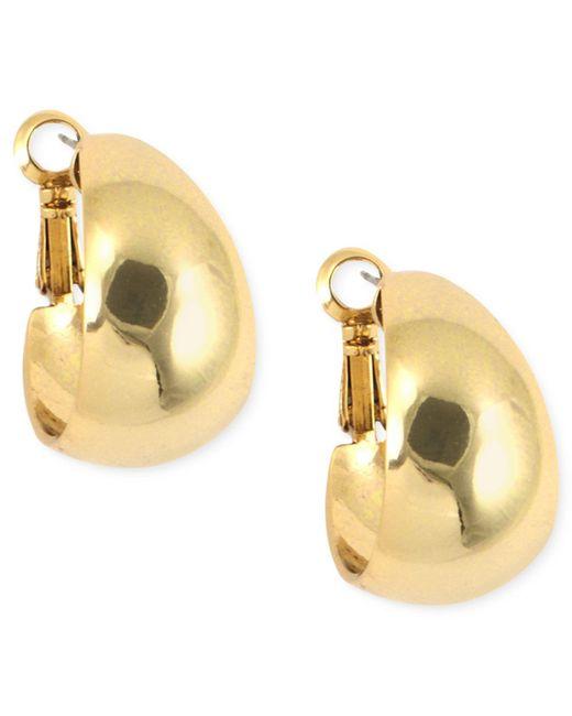 Anne Klein | Metallic Gold-tone Medium Band Hoop Earrings | Lyst
