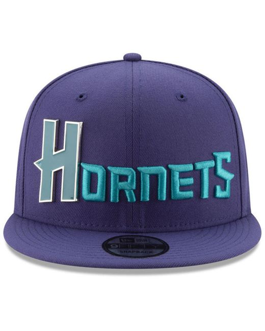 reputable site e4c06 f7d28 ... cheap ktz purple charlotte hornets enamel script 9fifty snapback cap  for men lyst da3d6 b008d