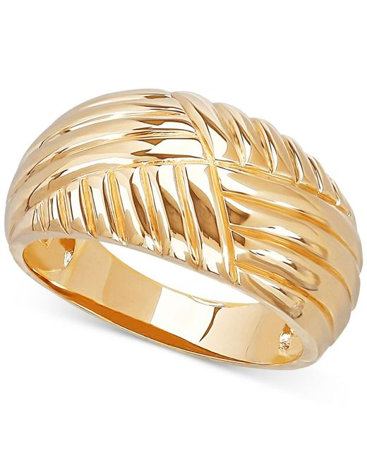 Macy's - Metallic Textured Dome Ring In 10k Gold - Lyst