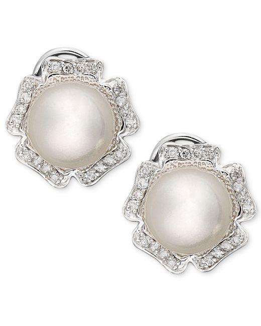 Macy's - 14k White Gold Earrings, Diamond (1/3 Ct. T.w.) And Cultured South Sea Pearl (9mm) Flower Stud Earrings - Lyst