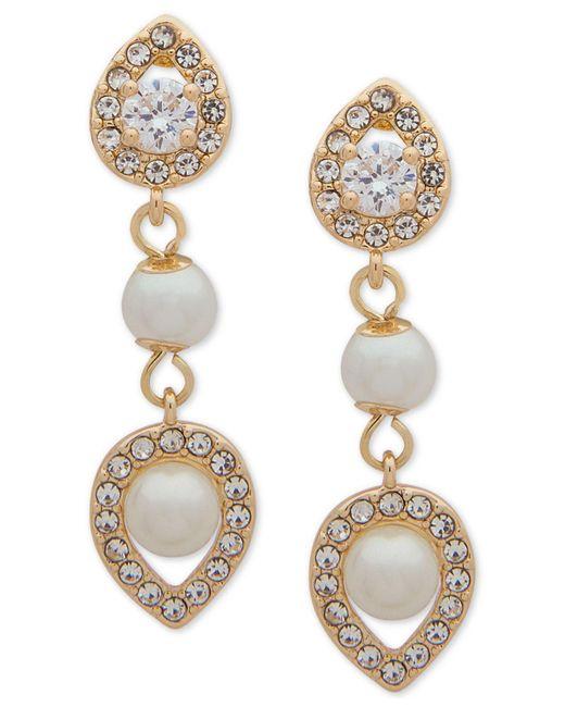 Anne Klein - Metallic Crystal And Imitation Pearl Drop Earrings - Lyst