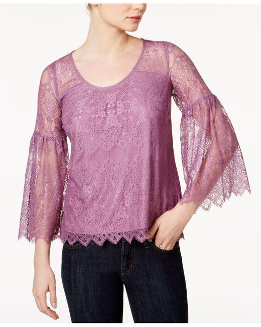 Kensie   Purple Lace Lantern-sleeve Top   Lyst