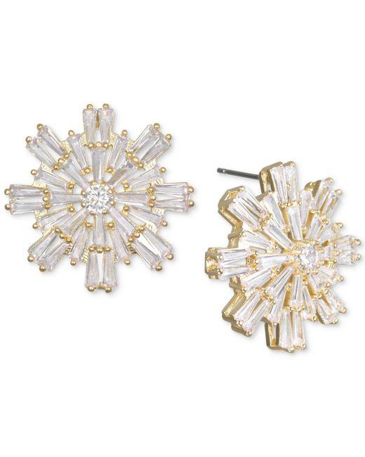 Badgley Mischka - Metallic Baguette Crystal Starburst Cluster Stud Earrings - Lyst