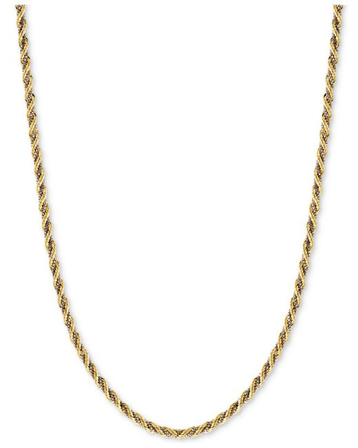 Macy's - Metallic Two-tone Twisted Box-link Rope Chain Necklace In 14k White And Yellow Gold - Lyst