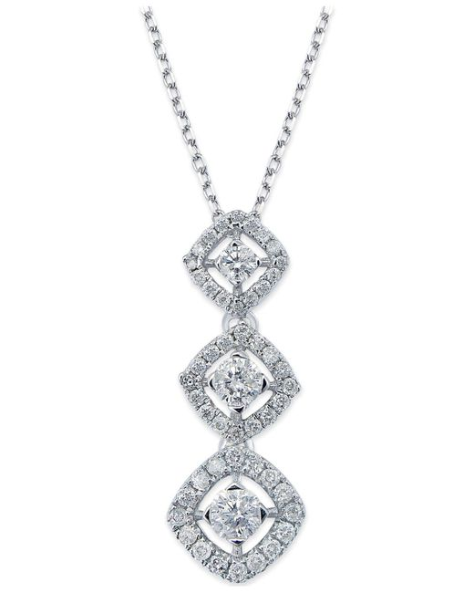 Macy's | Diamond Graduated Pendant Necklace In 14k White Gold (1/2 Ct. T.w.) | Lyst