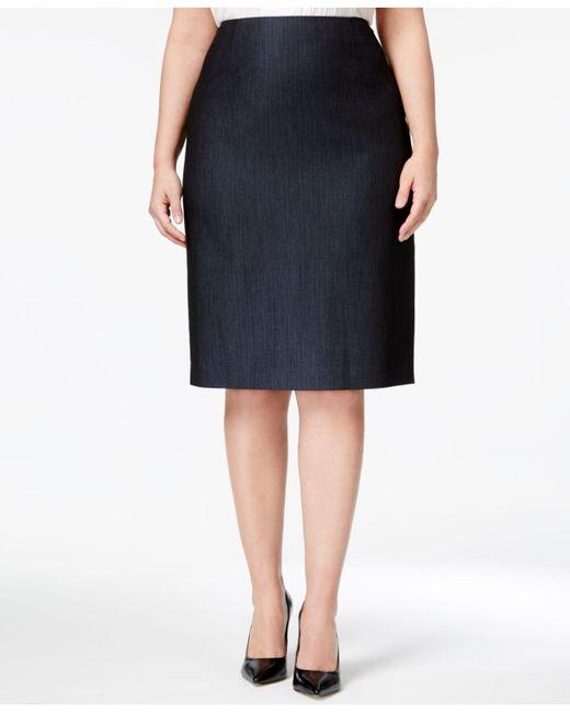 Anne Klein - Blue Plus Size Denim Twill Pencil Skirt - Lyst