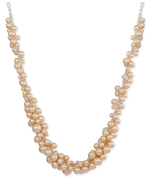 Charter Club - Metallic Silver-tone Pink Imitation Pearl Cluster Collar Necklace, Created For Macy's - Lyst