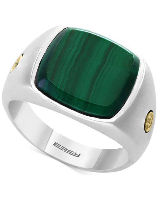 Effy Collection - Metallic Men's Malachite (15mm) Ring In Sterling Silver & 18k Gold - Lyst