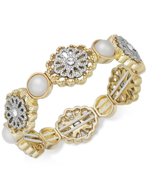 Charter Club - Metallic Two-tone Crystal Filigree & Imitation Pearl Stretch Bracelet - Lyst
