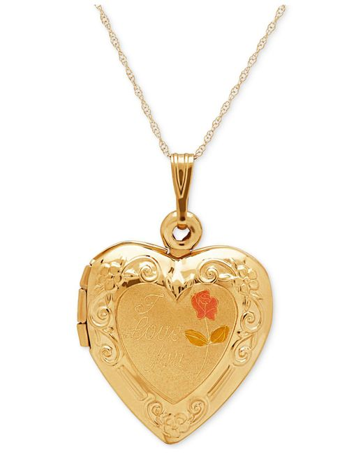 Macy's - Metallic Engraved Heart Locket Pendant Necklace In 10k Gold - Lyst