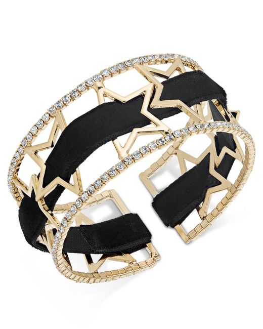 INC International Concepts | Metallic Openwork Star Pavé Cuff Bracelet With Velvet Ribbon | Lyst
