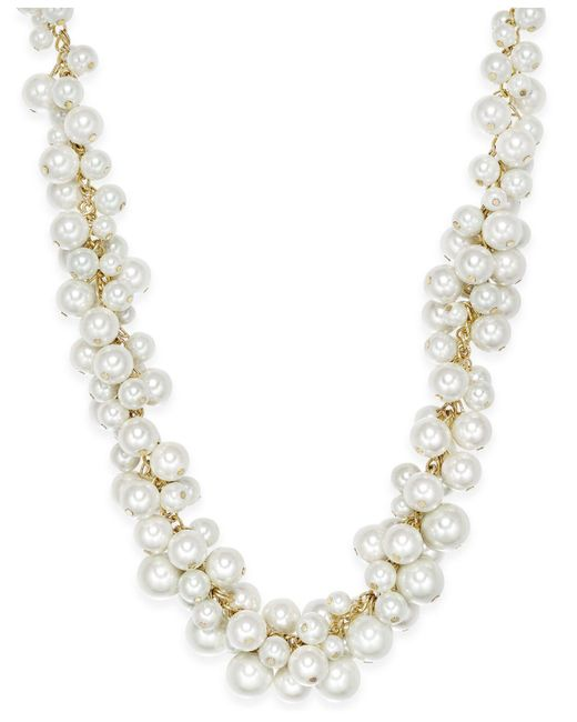 Charter Club | Metallic Gold-tone Imitation Pearl Cluster Necklace | Lyst