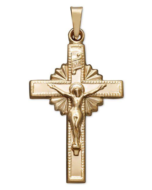 Macy's - Metallic 14k Gold Pendant, Starburst Crucifix - Lyst