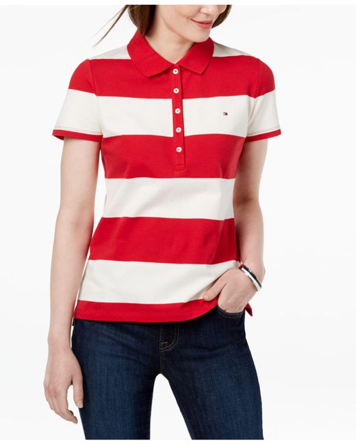 Tommy Hilfiger - Red Striped Piqué Polo Shirt - Lyst