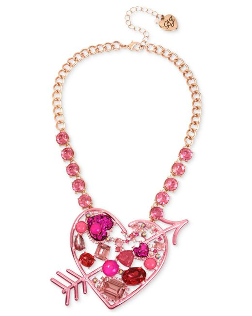 Betsey Johnson | Rose Gold-tone Pink Stone Heart & Arrow Statement Necklace | Lyst