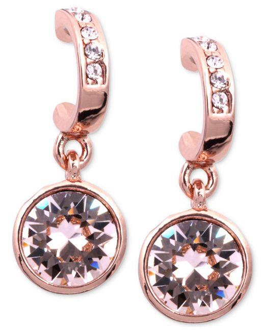 Givenchy - Pink Earrings, Rose Gold-tone Swarovski Silk Crystal Drop Earrings - Lyst