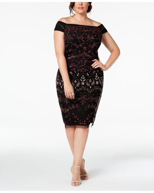Lyst Adrianna Papell Plus Size Embellished Off The Shoulder Dress