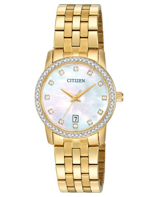 Citizen - Metallic Women's Gold-tone Stainless Steel Bracelet Watch 27mm Eu6032-51d - Lyst