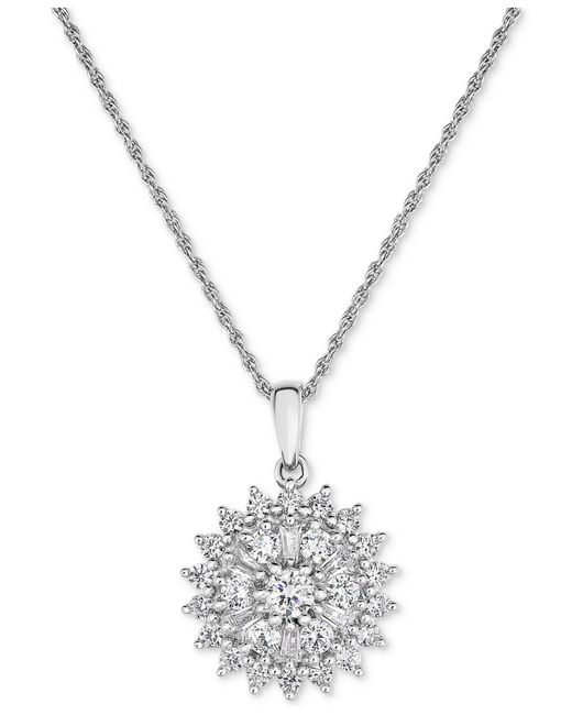 Macy's | Metallic Diamond Flower Cluster Pendant Necklace (1 Ct. T.w.) In 14k White Gold | Lyst