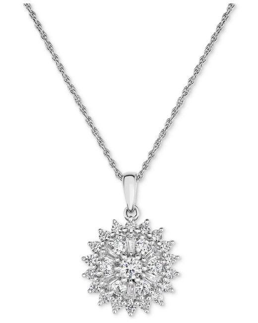 Macy's - Metallic Diamond Flower Cluster Pendant Necklace (1 Ct. T.w.) In 14k White Gold - Lyst