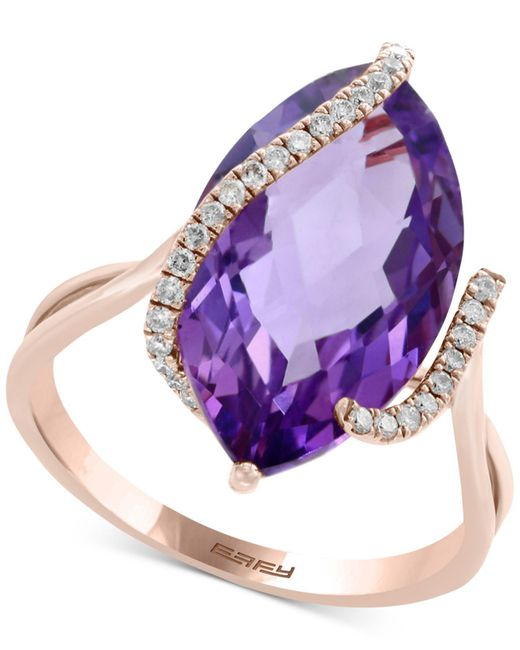 Effy Collection - Purple Effy® Pink Amethyst (6-5/8 Ct. T.w.) & Diamond (1/8 Ct. T.w.) Ring In 14k Rose Gold - Lyst