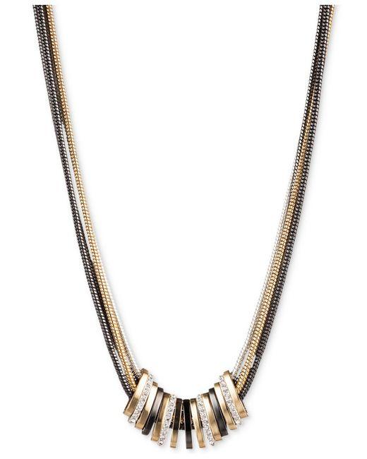 Nine West - Multicolor Tri-tone Crystal Large Slider Necklace - Lyst