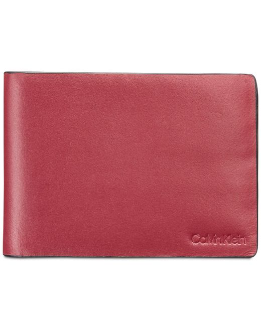 Calvin Klein - Red Slimfold Leather Wallet - Lyst
