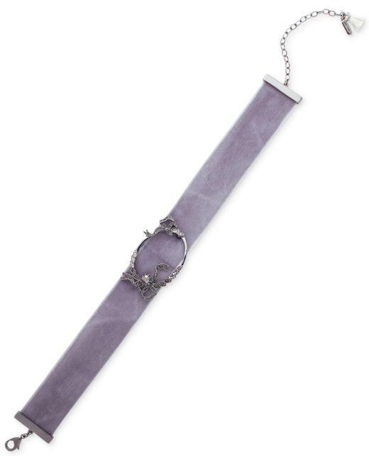 Lonna & Lilly | Gray Silver-tone Clear & Hematite Crystal Velvet Choker Necklace | Lyst