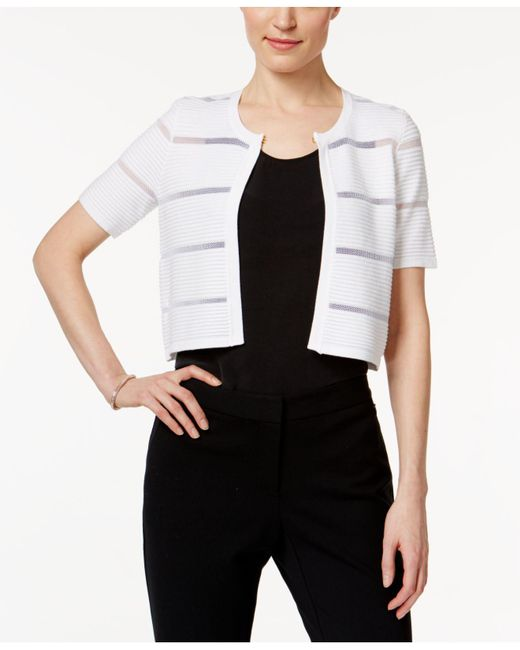 Calvin Klein - White Short-sleeve Illusion-inset Shrug - Lyst