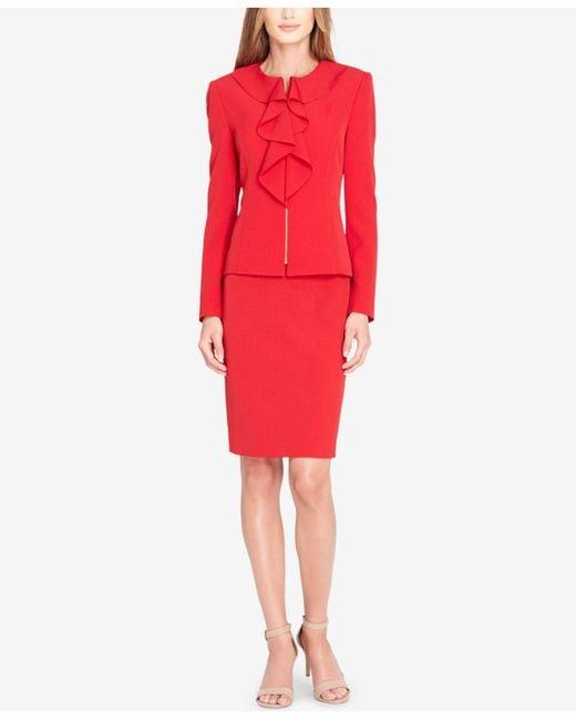 Tahari | Red Ruffled Zip-front Skirt Suit | Lyst