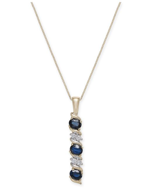 Macy's - Metallic Sapphire (9/10 Ct. T.w.) & Diamond Accent Pendant Necklace In 14k Gold - Lyst