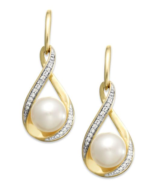 Macy's - Metallic Cultured Freshwater Pearl (7mm) And Diamond (1/10 Ct. T.w.) Earrings In 14k Gold - Lyst