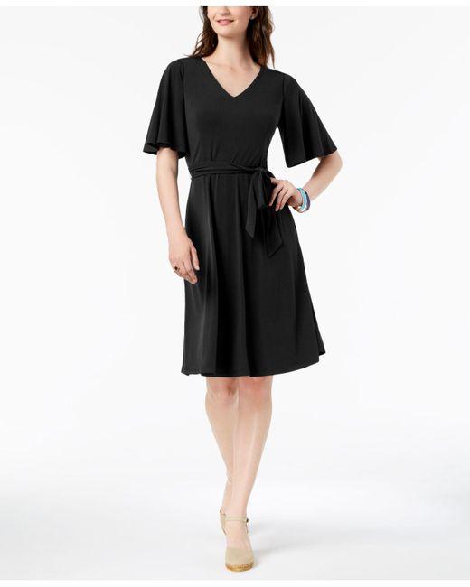 3a52fd7fd7 Charter Club - Black Petite Belted A-line Dress