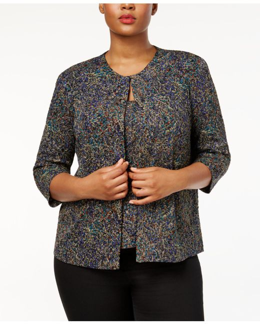Alex Evenings | Multicolor Plus Size Printed Glitter Jacket & Shell Set | Lyst