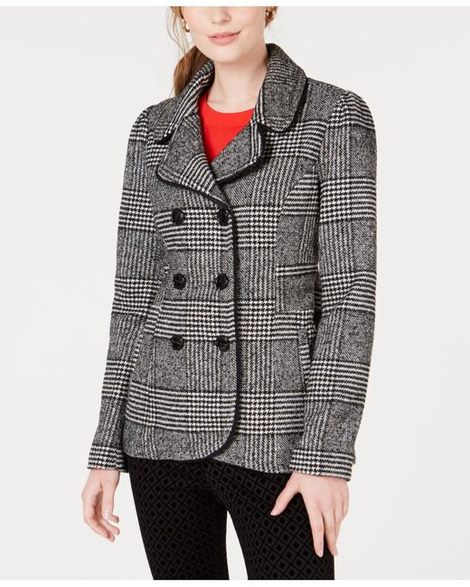 Maison Jules - Black Plaid Peacoat Jacket, Created For Macy's - Lyst