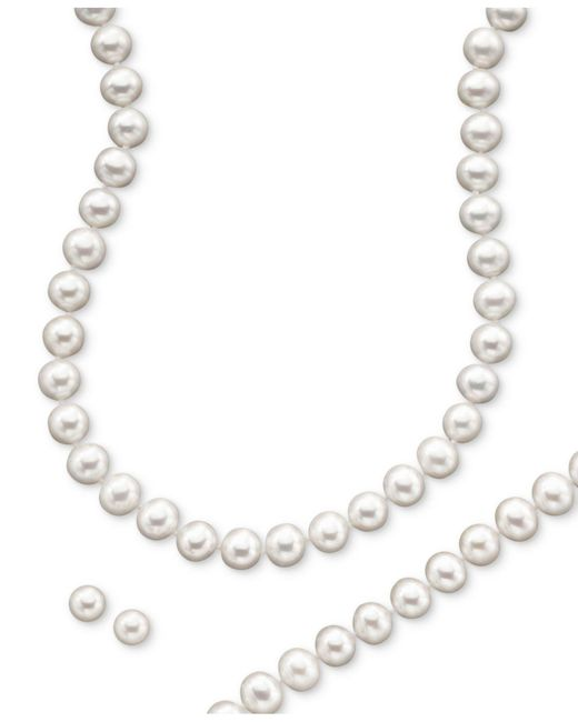 Macy's - White 14k Gold Cultured Freshwater Pearl Necklace, Earring & Bracelet Set - Lyst