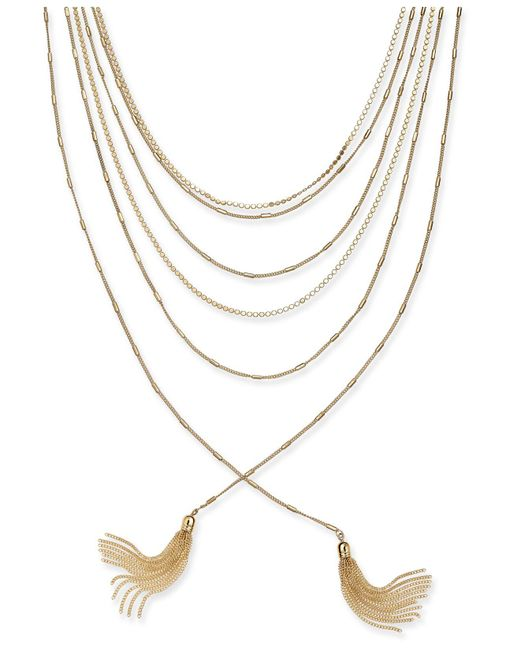 "INC International Concepts - Metallic Gold-tone Multi-chain & Tassel Layered Necklace, 17"" + 3"" Extender - Lyst"